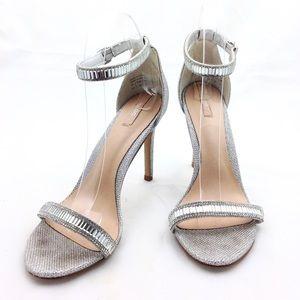 ALDO Silver Rhinestone Ankle Strap Sandals 8.5